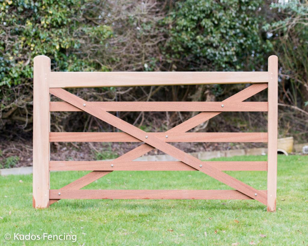5 Bar Field Entrance Gate In Iroko Hardwood Timber.